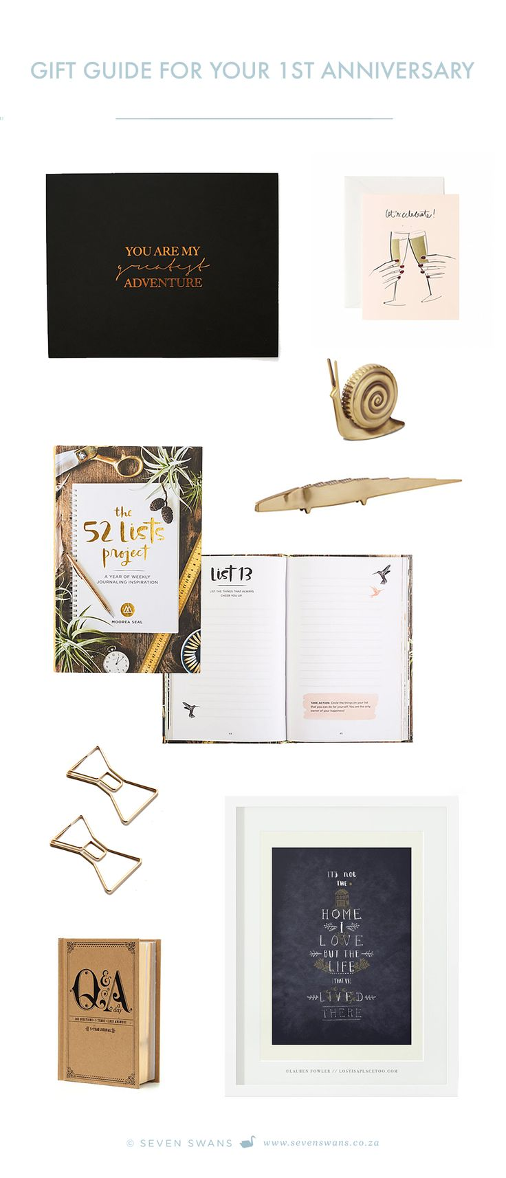 Did you know that the traditional gift for your first wedding anniversary is paper? We've come up with a couple of paper goods and desk top accessories to gift your loved one with!   Seven Swans Stationery