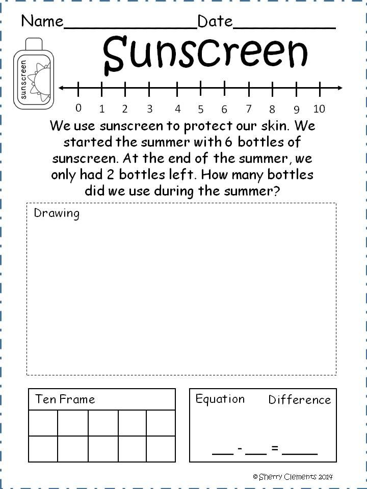 june subtraction word problems kindergarten minis and math. Black Bedroom Furniture Sets. Home Design Ideas
