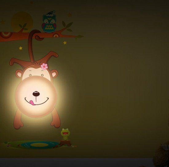3D Kinderlamp LED Vrolijke Muursticker AAP Nachtlamp Babykamer / Kinderkamer