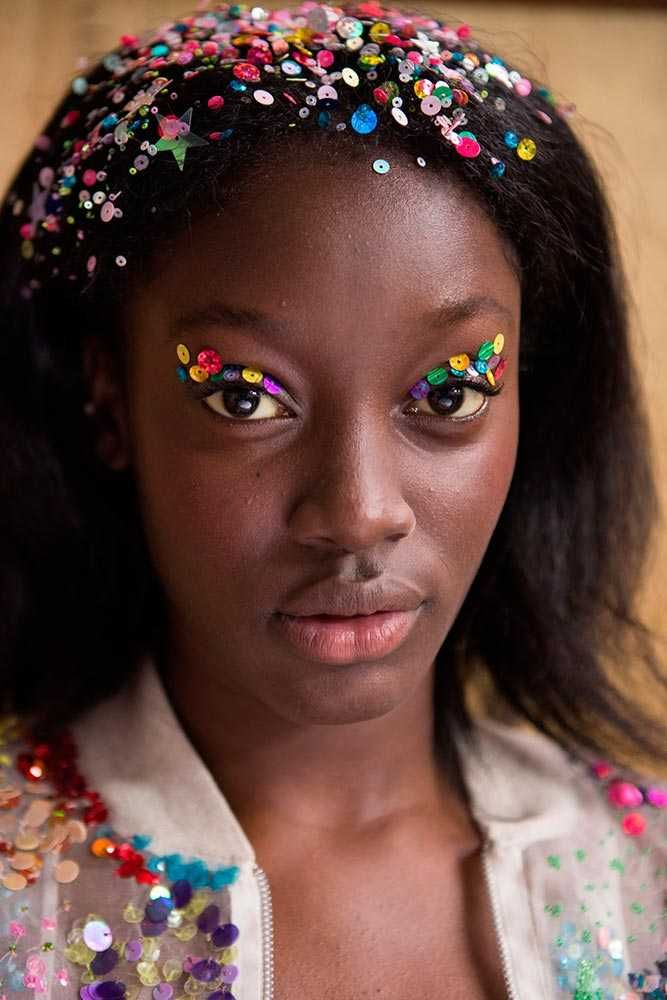 ELLE loves... this sequin beauty look from Ashish for SS16, as seen at London Fashion Week.   Take inspiration from the catwalk; go bold with your makeup - and have fun with sequins for a daring party look.