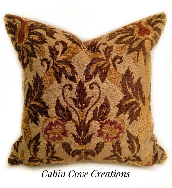 Decorative DesignerThrow Pillow KRAVET Fabric Floral Urn Medallion Gold  Brown Red Chenille Tapestry Designs By Cabin Cove Creations