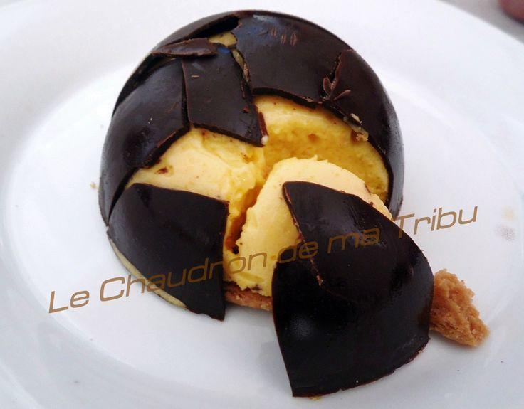 mousse de mandarine en coque de chocolat 016