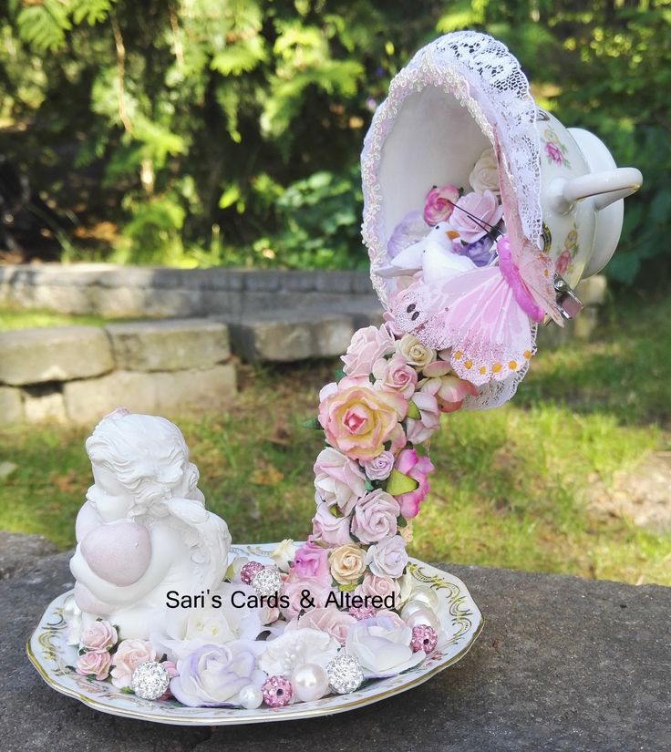 Floating teacup,roses,angel,shabby chic,pink,lace