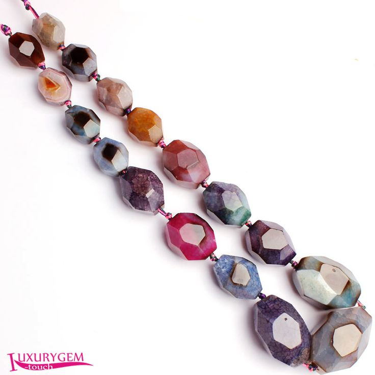 """Free Shipping 15x20-25x35mm Cracked Natural Multicolor Stone Faceted Oval Shape DIY Gems Loose Beads Strand 18"""" w3689 #Affiliate"""