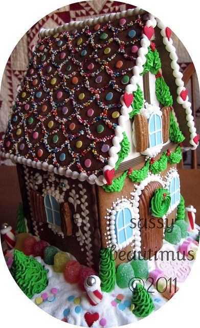 Check out her pretty gingerbread/sugar cookie houses by sassybeautimus, via Flickr