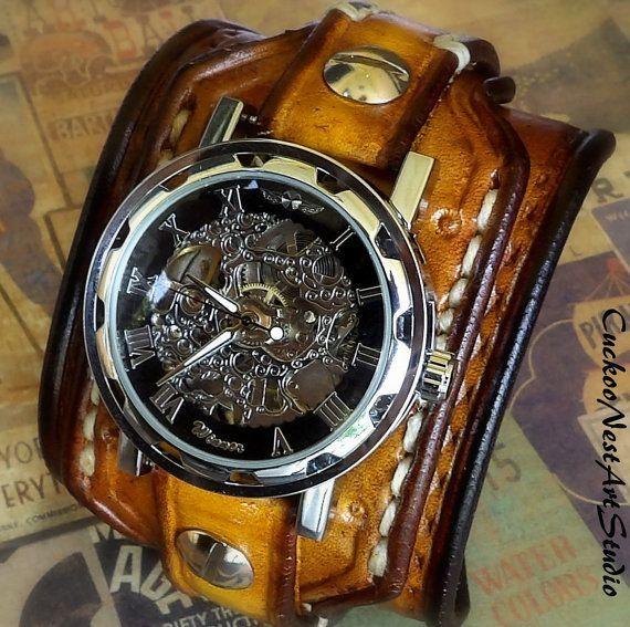 Steampunk Leather Wrist Watch Men's watch by CuckooNestArtStudio, $139.00 - gold mens watches, mens designer watches sale, mens designer watches sale