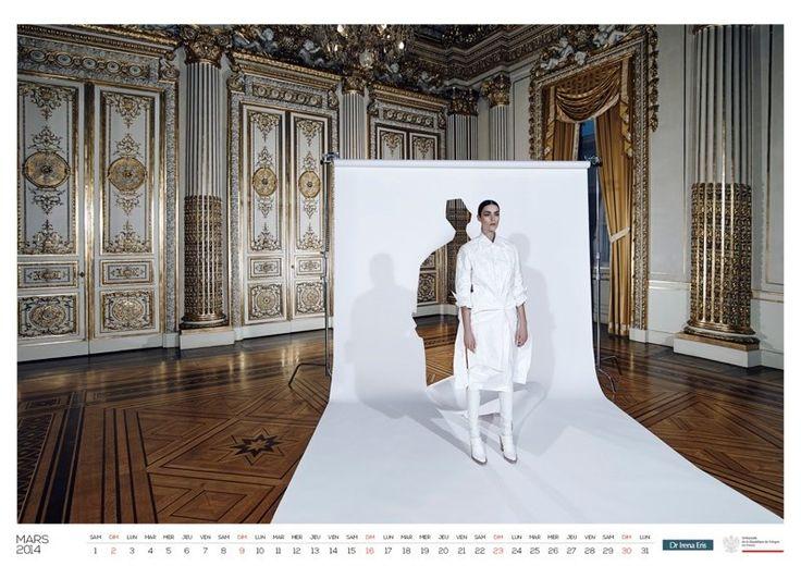 Dark-haired beauty Patrycja Gardygajlo poses for 2014 Polish Embassy in Paris calendar in cutting edge looks. Set design by Witalis.