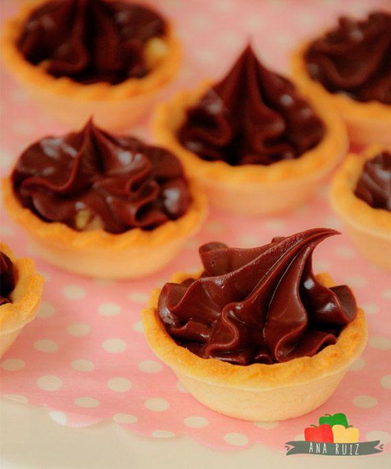 Tartaletas de chocolate cremoso
