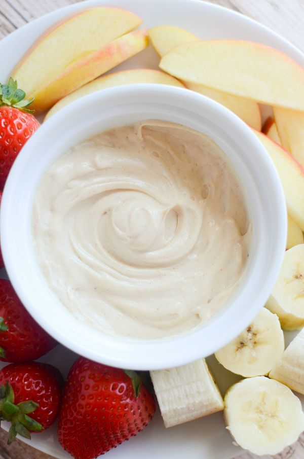 Peanut Butter Fruit Dip - delicious and healthy fruit dip with only 3 ingredients! #SnackandSmile #ad