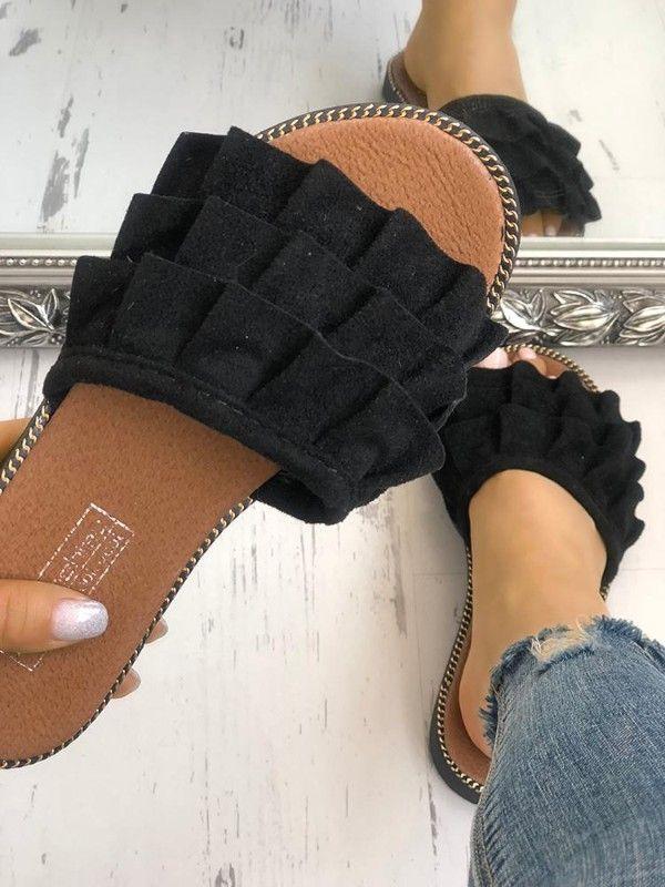 Babados de veludo Chinelos antiderrapantes em camadas   – Schuhe