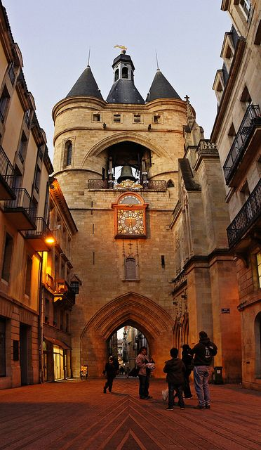 Bordeaux, France;  Grosse Cloche Gate - look at the size of that bell!  Wow.