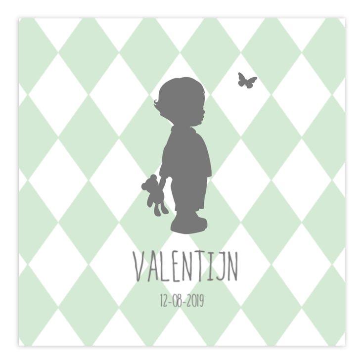 Geboortekaartjes met een silhouet zijn zo gaaf! Dit kaartje is helemaal leuk met de ruitjes achtergrond. #silhouet #geboortekaartje #birthannoucement