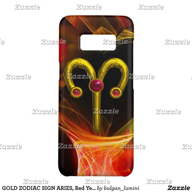 GOLD ZODIAC SIGN ARIES, Red Yellow Fractal Swirls Case-Mate Samsung Galaxy S8 Case #astrology #astrologist #3d #ram #techno #zodiac
