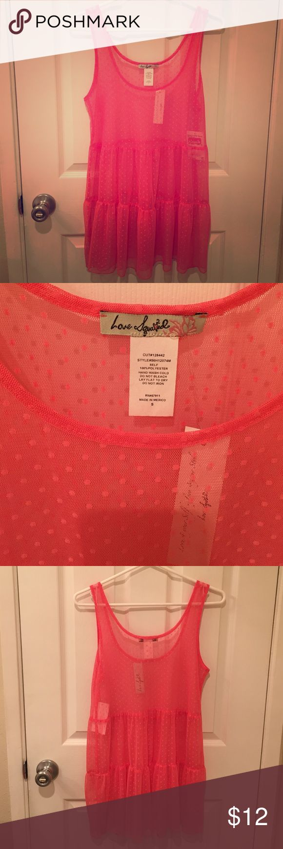 Sheer Coral Top Cute coral see through top with polka dot pattern. Size small. Would be cute paired over a bandeau, bikini top, or tank top. Love Squared Tops Tank Tops