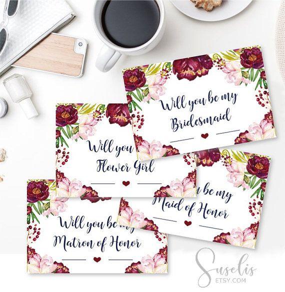 Will You Be My Bridesmaid Printable set DIY Wedding Bridal
