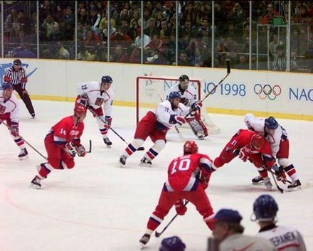Professional NHL players were allowed to participate in ice hockey starting in 1998 (1998 Gold medal game between Russia and the Czech Republic pictured).