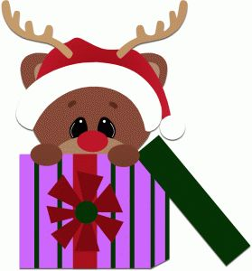 Silhouette Design Store - View Design #49560: reindeer peeking out of present christmas