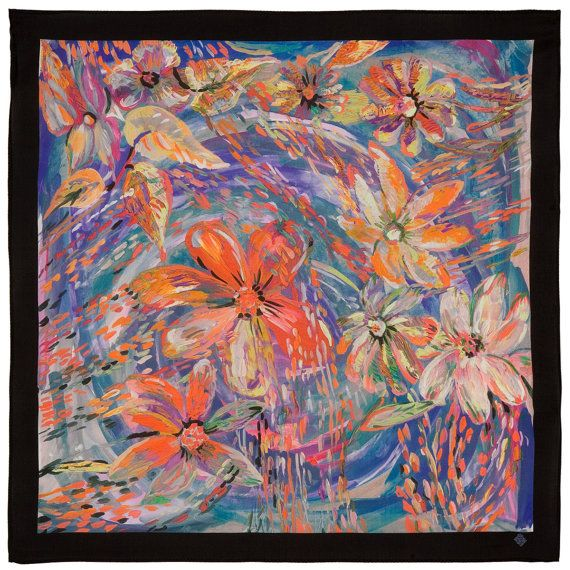 25 Russian Silk Shawl Scarf Pavlovo Posad 100% by ZimushkaShawls
