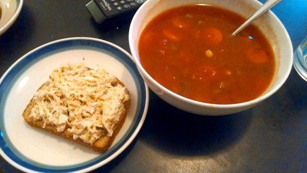 {vegetable} soup + {tuna} sandwich