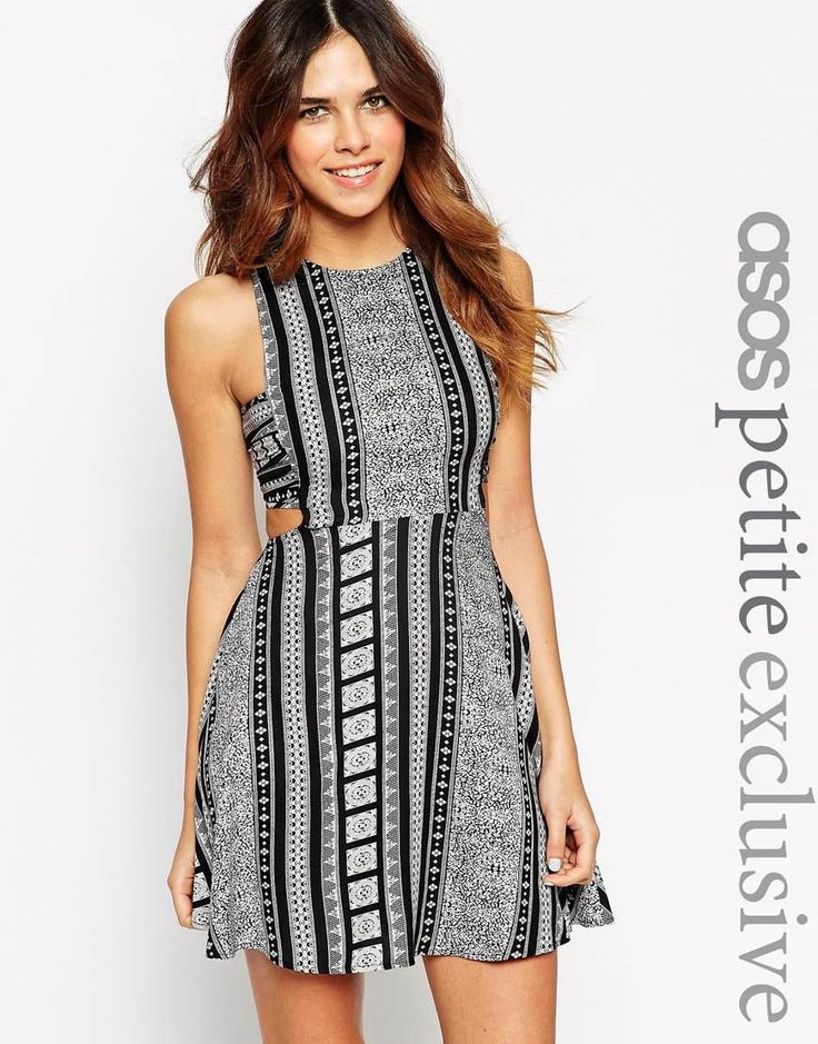 ASOS Petite | ASOS PETITE Dress with Cut Out in Mono Festival Print at ASOS