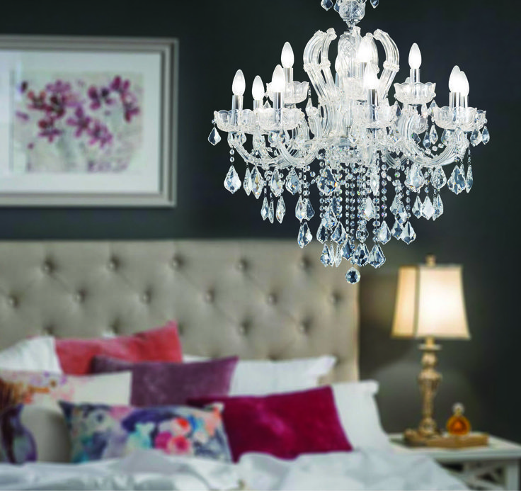 Crystal twelve light chandelier www.earlysettler.com.au