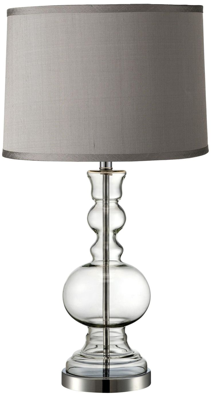 Captivating Platinum Grey Dupioni Clear Glass Vase Table Lamp
