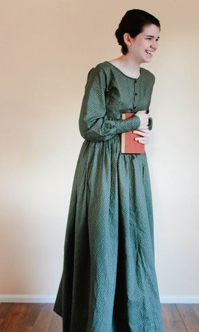 Button Up Plain Dress – Front Button Prairie Dress – Made to Measure Pioneer Dress – reenactment dre