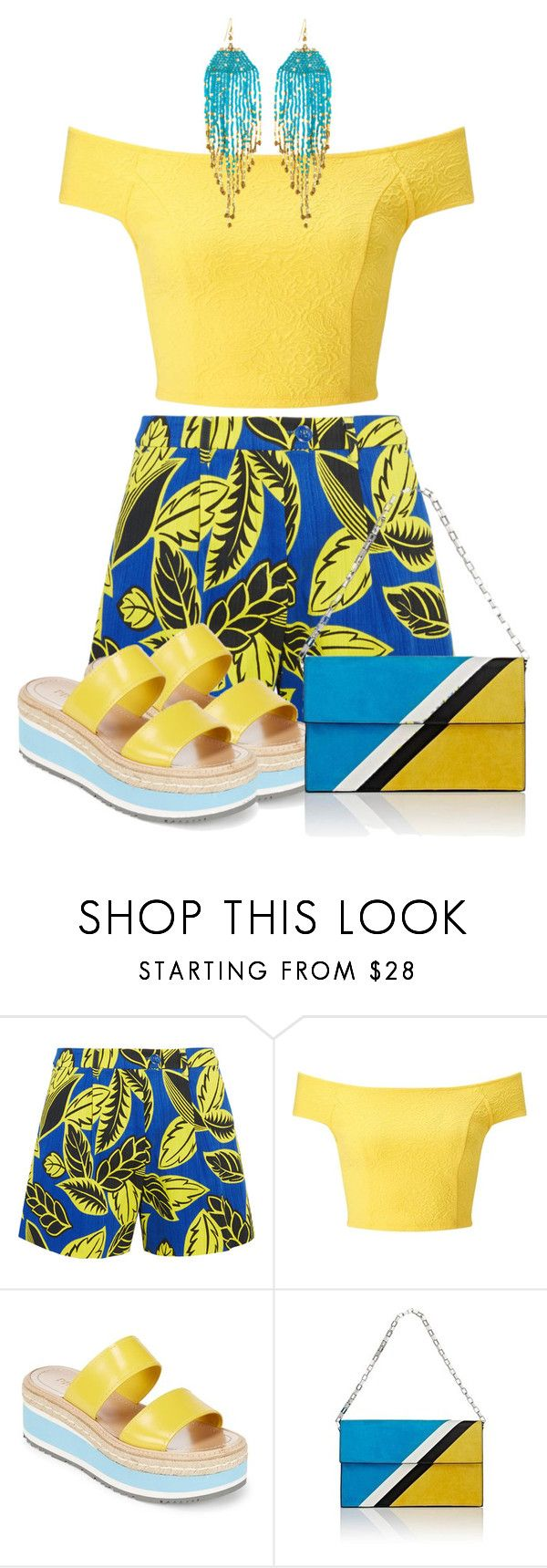 Blue and Yellow Contest by salbiylaazzara-fashion on Polyvore featuring Miss Selfridge, Boutique Moschino, Prada, Tomasini, NAKAMOL and wearitout