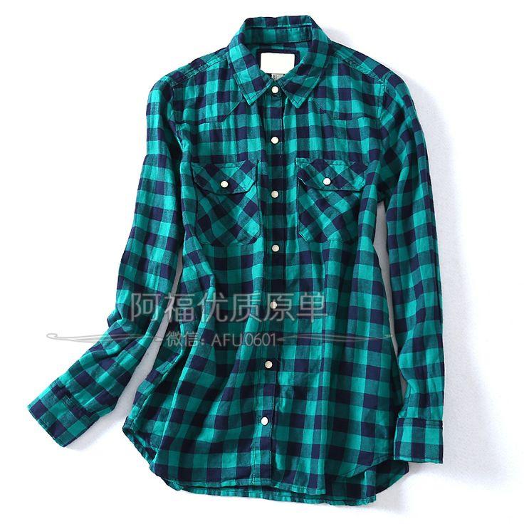 США сингл! Классический дикий раздел хлопок клетчатую рубашку основная женская - Taobao