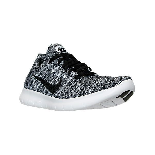 Nike Women's Free RN Flyknit Running Shoes ($130) ❤ liked on Polyvore featuring shoes, athletic shoes, grey, gray running shoes, nike athletic shoes, nike, stretching shoes and mesh running shoes