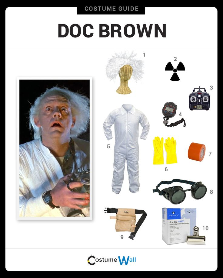 Dress like Doc Brown from Back to the Future. Get cosplay inspiration and more Back to the Future costume ideas.