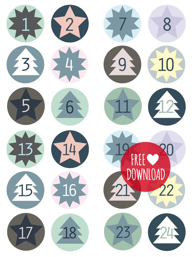 FREE printable advent calendar numbers