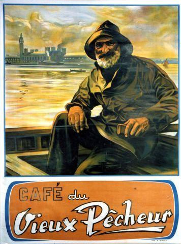 Café du Vieux Pêcheur - Vintage poster