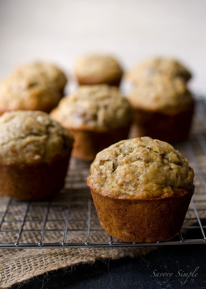 Banana Bread Muffins...perfect muffin. I swapped the nuts out for blueberries!!: