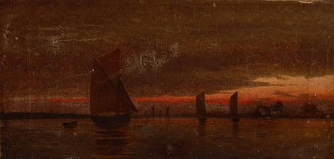 SARAH LOUISE KILPACK (1840-1909) Oil on canvas, Fishing boats off the coast at sunset, signed