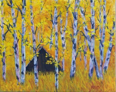 Original painting of A frame cabin in the aspens by Pat Adams.  Available paintings can be seen in my ebay store: Pat-Adams-Art-Paintings-and-Photos
