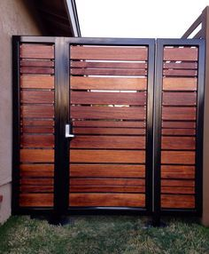 Modern horizontal style entry gate ipe mangaris tropical hardwood, prominent welded steel frame, keyless entry