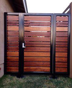 Modern horizontal style entry gate ipe mangaris tropical hardwood, prominent welded steel frame, keyless entry