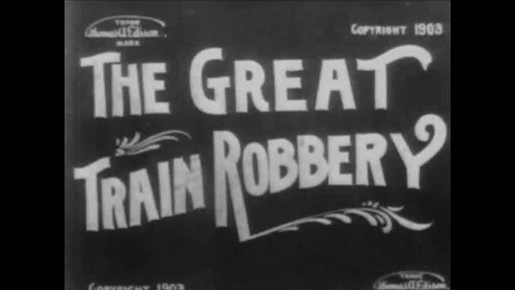 """The Great Train Robbery"" Silent Film - Produced by Thomas Edison but directed and filmed by Edison Company employee Edwin S. Porter, the 12-minute-long silent film, The Great Train Robbery (1903), was the first narrative movie, one that told a story. The Great Train Robbery's popularity led directly to the opening up of permanent movie theaters and the possibility of a future film industry. (1903) 12:00"