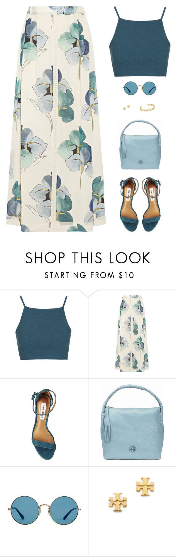 """""""Sin título #4754"""" by mdmsb on Polyvore featuring moda, Topshop, Tory Burch, Steve Madden y Ray-Ban"""