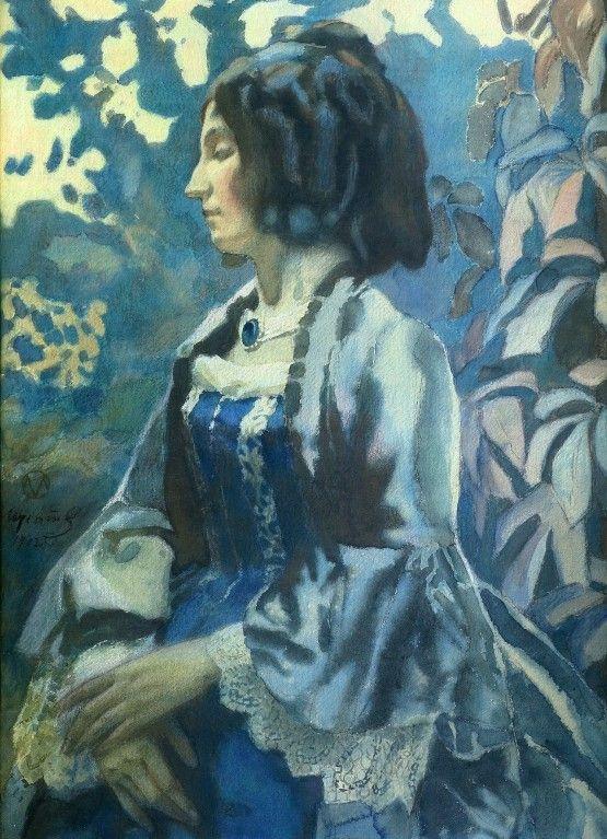 Борисов-Мусатов В.Э. - Портрет дамы в голубом платье. 1902 Бумага типа торшон, акварель, пастель