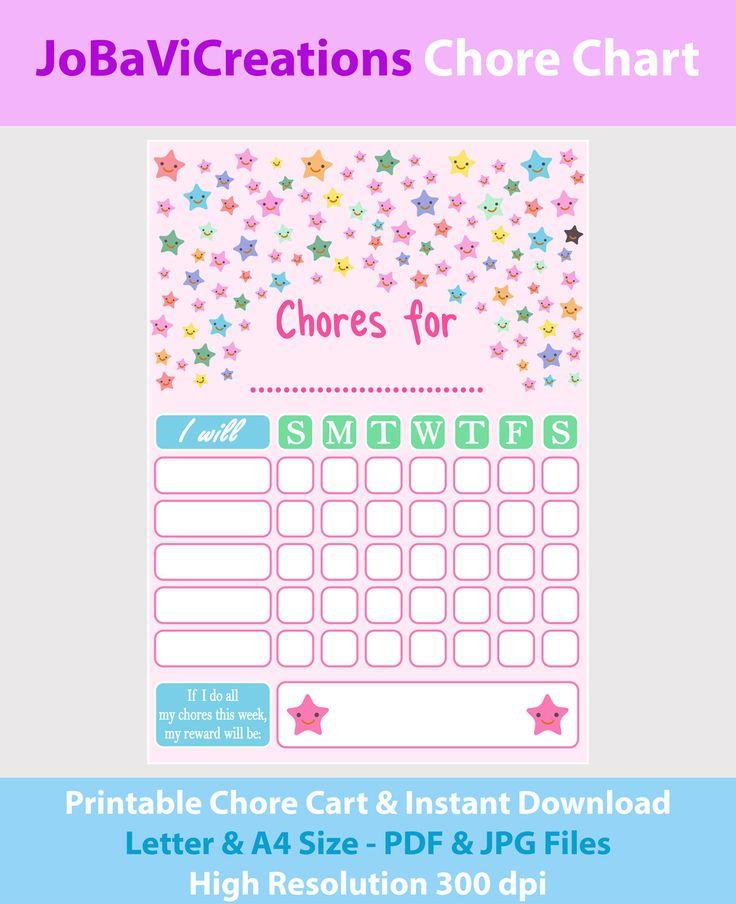 Chore Chart Printable. Chore Chart Stars Design. Chore Chart for Kids. Chore Chart for Children. Tasks Kids Chart. Tasks Children Chart. de JoBaViCreations en Etsy