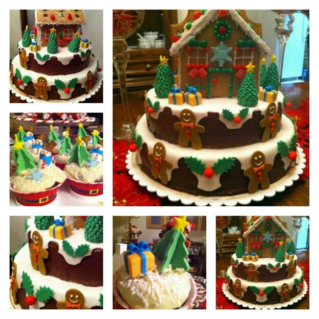 Ginger house. Christmas cake and cupcakes.