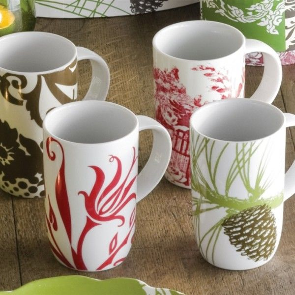 Rosanna Boho Mugs. Charming and original, this mix and match collection coordinates well with white dishes already in your cupboard Set of 6 assorted porcelain mugs. Packaged in a beautiful signature gift box. $55.95 http://simplyvelvet.com/product/rosanna-boho-mugs/. #tabletop, #mugs.