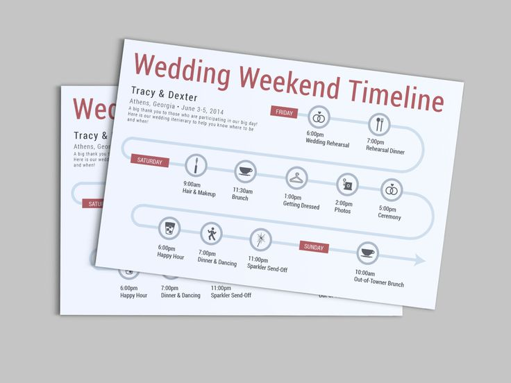 Wedding Weekend or Day of the Wedding Timeline - Customizable - wedding weekend itinerary template
