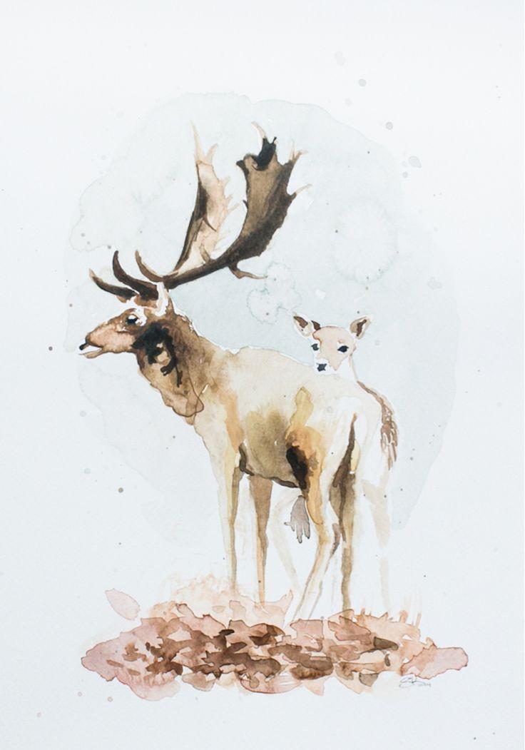 deerlove, watercolour by Silvia Ilona Klatt, www.dropsandink.com