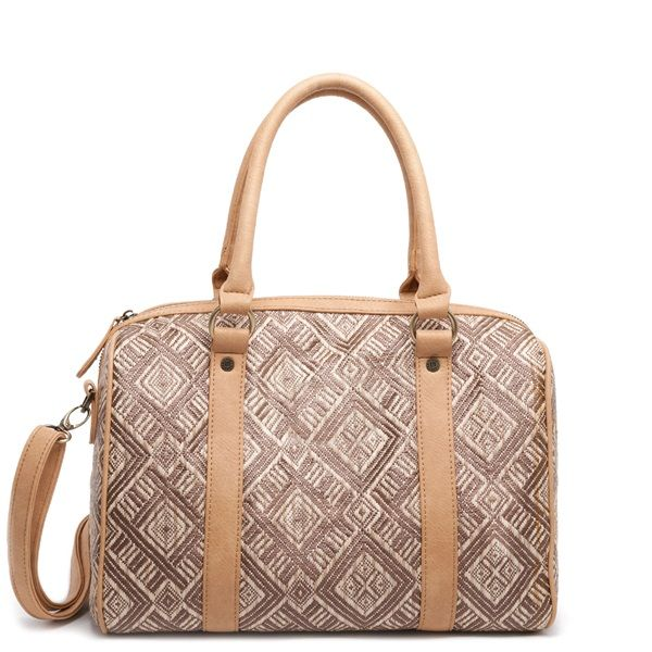 Beige tote bag with straw surface.