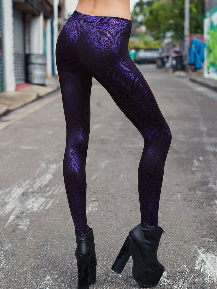 Geometric Floral Violet Leggings - LIMITED (WW $80AUD / US $64USD) by Black Milk Clothing - GOT IT