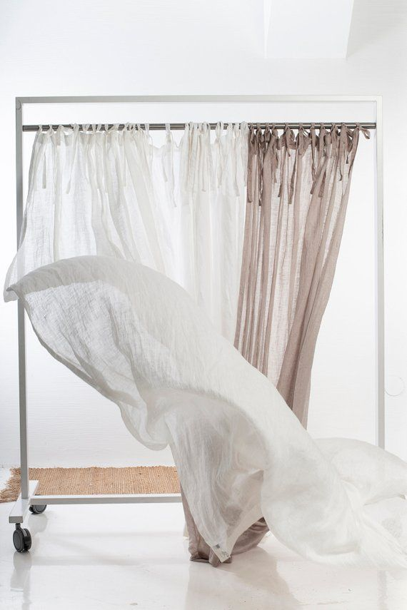 White Sheer Curtains Linen Curtain Window Curtains With Ties