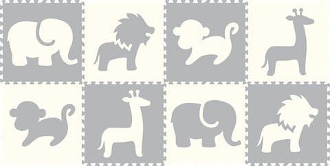 SoftTiles Safari Animals 8 Piece Set- White and Light Gray